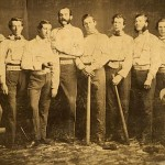 The Brooklyn Excelsiors of 1860. Three of these players--James Creighton (pitcher, third from the left, holding the ball), Henry Polhemus (second baseman, tallest here), and Asa Brainard (left fielder, second from right), are interred at Green-Wood. , and