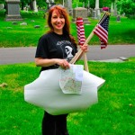 Lisa Griffiths-Lewis, with map and flags, marking the graves of our Civil War veterans.