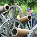 Denny Pizzini, with his artillery pieces, at Green-Wood.