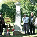 Part of the group that gathered at James Creighton's grave (left to right): Eric Miklich, Ed, Mikey Tangle, Tom Gilbert, Bob