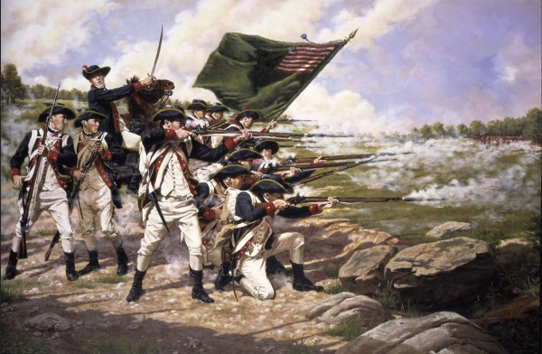 American patriots at the Battle of Brooklyn.