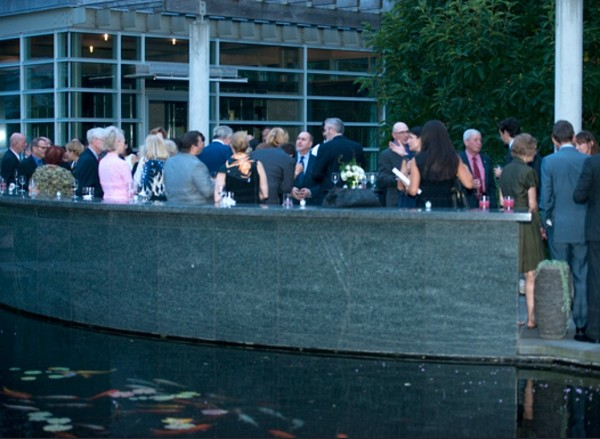 It was a peaceful evening as attendees gathered around the pond a Tranquility Gardens to enjoy drinks, appetizers, and jazz.