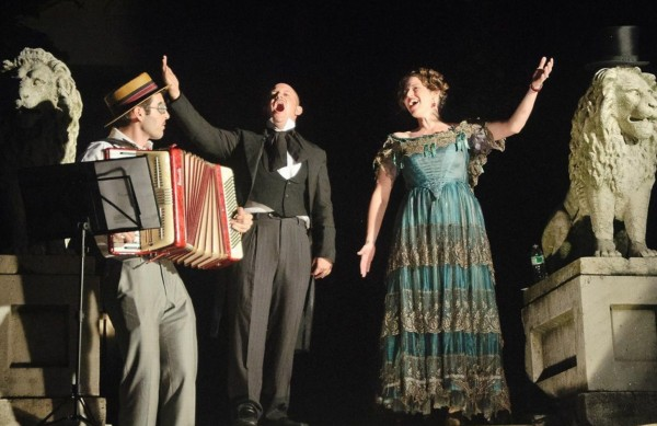 From left to right, Albert Behar, Jacob Feldman, and Rebecca Gordon (playing the infamous Lola Montez (who is buried just up the hill from this spot), performed several operatic pieces.