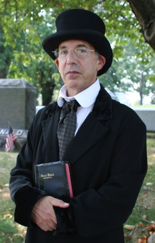 """The Rev. Henry Ward Beecher, """"The Great Divine,"""" played by Ben Feldman, out saving souls."""