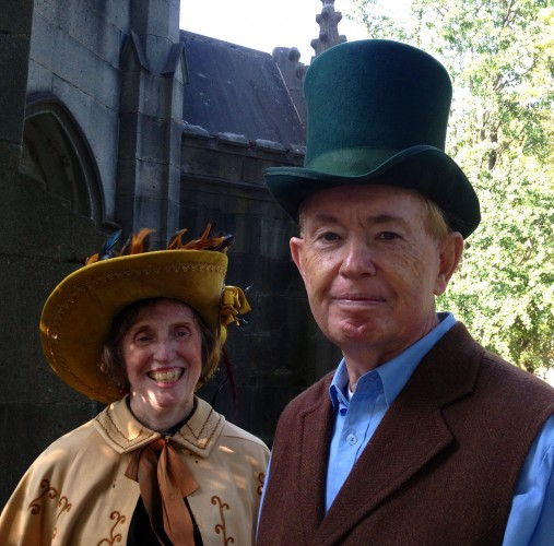 Mr. and Mrs. Chauncey (Alice Walsh and Marty Collins) greeting visitors to their abode.