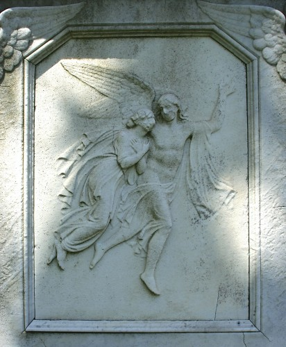 Detail of the Cozzens Family Memorial, by Henry Kirke Brown, at Green-Wood.
