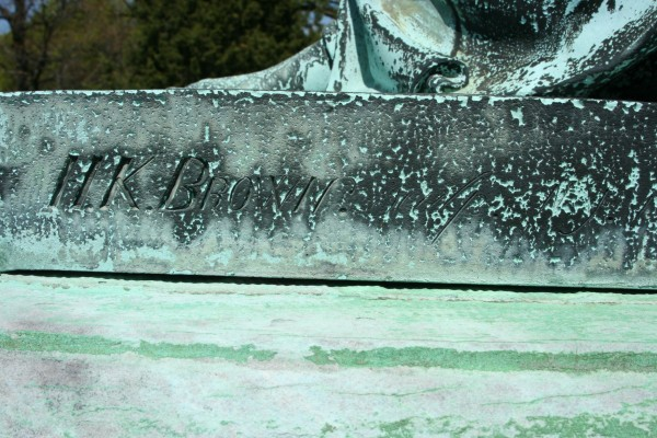 Sculptor Henry Kirke Brown's signature on the base of the Packer Bronze.