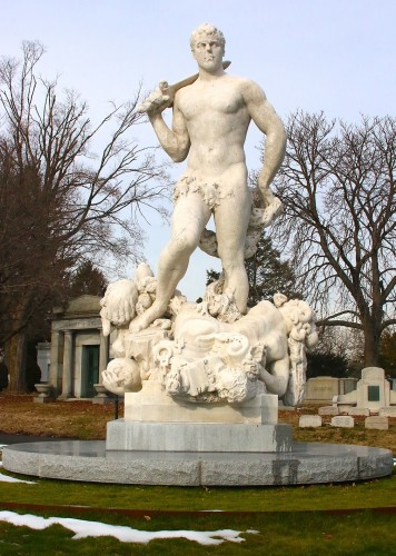 """""""Civic Virtue,"""" by Frederick MacMonnies, cleaned and restored, in its new location at Green-Wood."""