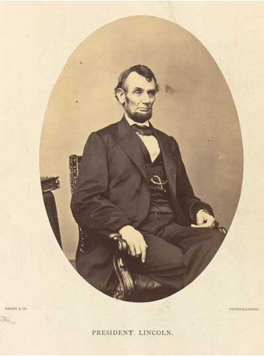 President Abraham Lincoln, 1864, by Anthony Berger at the Brady Studio.