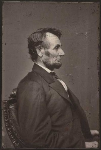 This is one of a series of photographs that Anthony Berger took of President Abraham Lincoln at the Brady Gallery in Washington in the winter of 1864, as the Civil War dragged on. Modern albumen print from 1864 wet-plated collodion negative. National Portrait Gallery.