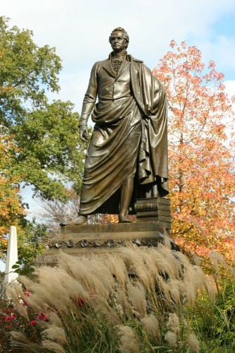 The De Witt Clinton bronze in the fall.