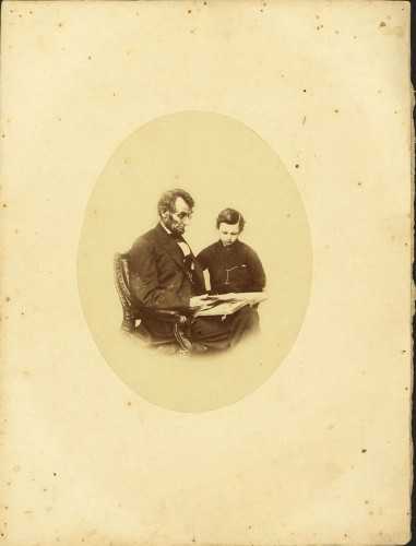 This photograph of Lincoln and his son Tad was taken by Anthony Berger on February 9, 1864, at Brady's National Photographic Portrait Galleries. It is one of the most popular portraits of Lincoln and the only one showing him wearing glasses.