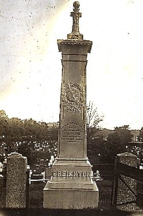 Jim Creighton's monument, photographed a century or more ago, when it still had its original top.