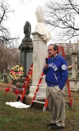 Major League Baseball's official historian, John Thorn, at Jim Creighton's grave, talking about his immense impact on baseball history.