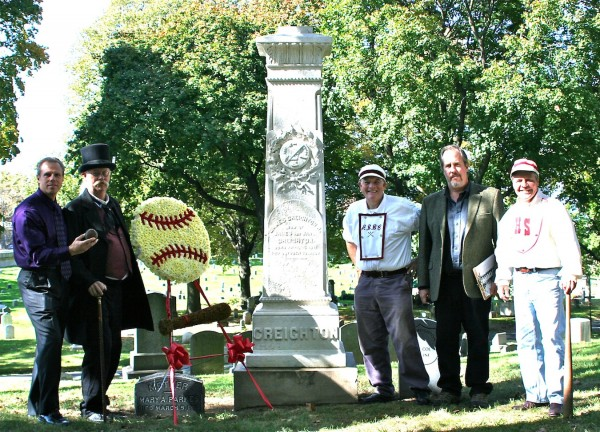 This photograph, taken on October 18, 2012, shows baseball historians and reenactors around his Green-Wood monument.