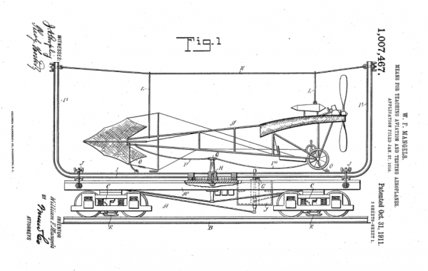 This is William F. Mangels's invention for training pilots and testing aeroplanes.