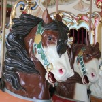 Horses on the B & B Carousel. The Mangels Company usually contracted with carvers to make these horses; Mangels invented the mechanism that make the horses gallop up and down, and made this carousel.