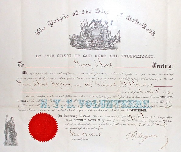 Captain Henry A. Sand's commission in the 103rd New York State Volunteer Infantry, issued in 1862 and signed by the governor.