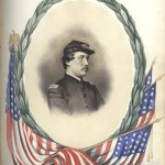 This drawing of Henry, framed by the laurel wreath of a hero, was drawn by his sister, Emily, in a memorial book she created after Henry succumbed to his wound.