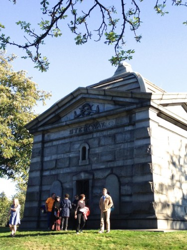 The Steinway Mausoleum (yes, the piano people) is the largest tomb at Green-Wood: there is room for 256 interments, 128 on the ground floor and 128 in the basement.
