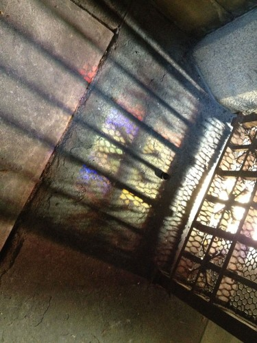 The sun was shining through the stained glass at the Whitney Mausoleum, creating this pattern.