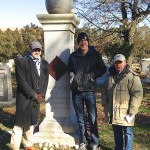 "That's Mike Pesca, host of Slate's daily podcast, ""The Gist,"" and contributor to NPR, at left; Slate's executive editor Josh Levin at center; and Green-Wood Cemetery's historian (that's me!) at right."