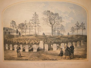 Lithograph of the Knoxville National Cemetery, showing the graves of the men of the 79th New York Infantry, dating from 1864