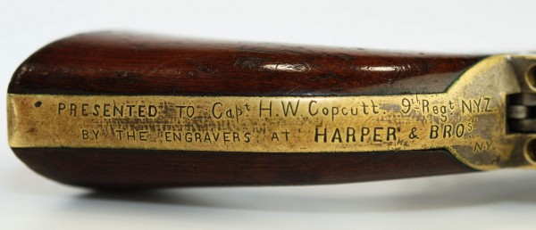 Captain Copcutt, in civilian life, was an engraver. His fellow engravers at Harpers Brothers presented this Colt to him. From the Dennis C. Schurr Collection.