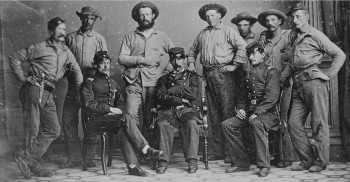 Soldiers and officers of Wilson's 6th New York Volunteer Infantry. Lieutenant Colonel John Creighton is seated at right.