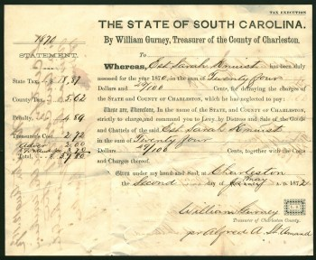 After the Civil War, William Gurney, who had commanded the Union garrison in Charleston in 1865, stayed and became Charleston's county treasurer.
