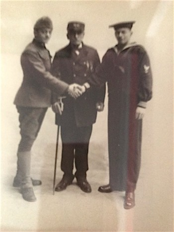 Jeremiah Haley, later in life, with his two grandsons in their World War I uniforms.