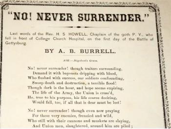 1863 Handbill dedicated to Chaplain Horatio Howell of the 90th Pennsylvania Infantry