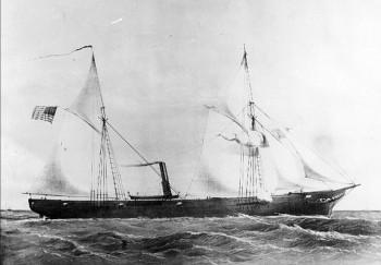 "Lithograph by Shearman & Hart, New York, circa 1861: ""U.S. Steam Gun Boat Kanawha. Built by C.E. & W.H. Goodspeed. East Haddam, Connecticut""."