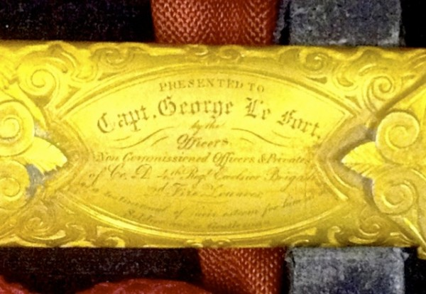 The inscription on the scabbard of George LeFort's presentation sword.