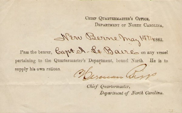 A pass issued to Adolph Libaire . From the Dennis C. Schurr Collection.