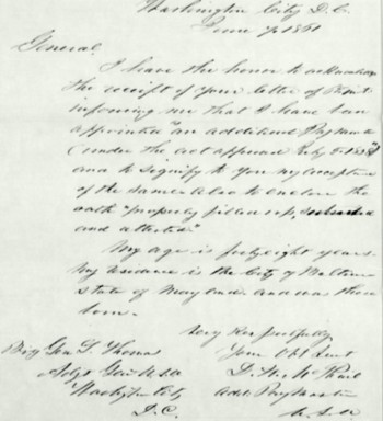Letter of acceptance for appointment-June 1861