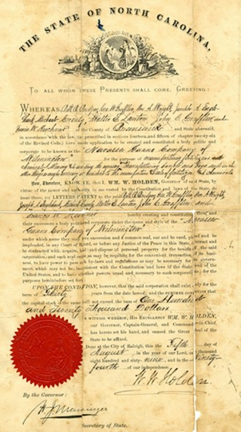 Document, dated 1869, signed by Henry J. Menninger as secretary of state of North Carolina