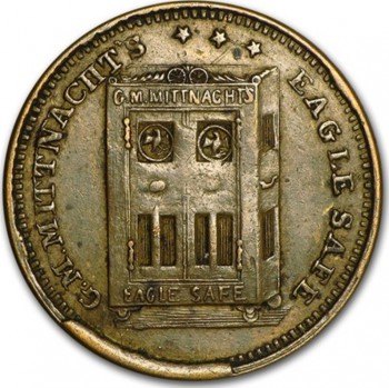 Token used by Mittnacht during the Civil War when his business was at 23 Spring Street in Manhattan.