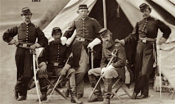 Officers of the 17th Light Artillery at Camp Berry, 1863. Hiram Smith is at far right.