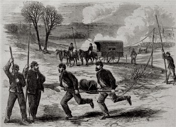 Union soldiers laying telegraph lines