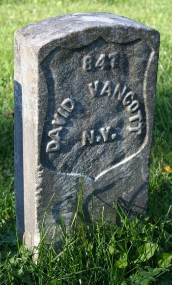 David Van Cott's gravestone at Antietam National Cemetery