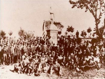 Members of the 124th at the dedication of the regiment's monument at Gettysburg, September 5, 1892