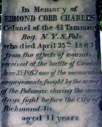 The inscription on Colonel Charles's monument at Green-Wood