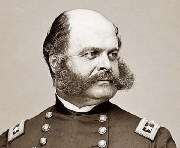 General Ambrose Burnside. Largely inept as a military leader, his greatest legacy is his facial hair, which is know today as sideburns, a play on his last name, Burnside.
