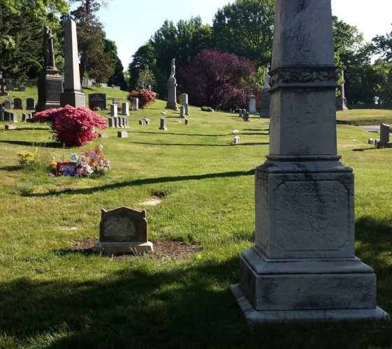 Lot , in a recent photograph. Margaret Pine's restored gravestone is at left in the foreground.