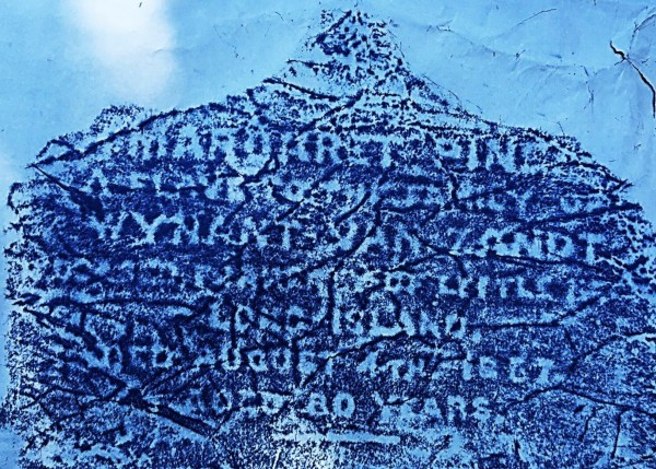 Frank Morelli made this rubbing so that the inscription on Margaret Pine's gravestone could be read.