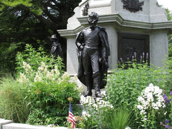 New York City's Civil War Soldiers' Monument, at Green-Wood Cemetery, showing three of the four bronze recasts of the original zinc soldiers.