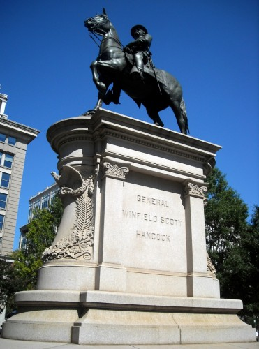 Ellicott's sculpture of Major General Winfield Scott Hancock was dedicated in 1896 by President Grover Cleveland.