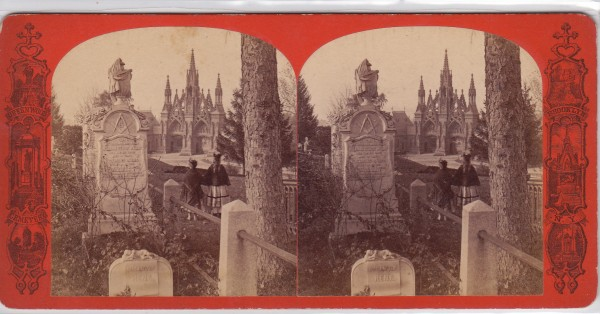 A stereoscopic view of Green-Wood Cemetery, circa 1865. It is a wonderful view of the then recently-completed Main Gates, with two girls in period dress.