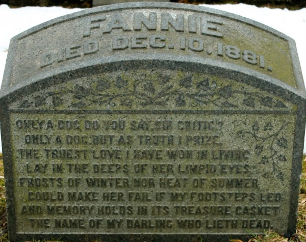 Fannie's gravestone--with its wonderful poem.